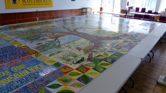 The Gray Mockingbird Community Garden Handpainted Tile Murtal by JillKarlin Butler and twenty artists, on display at The Scottish Rites Masonic Lodge in Lake Worth, FL.  on displ